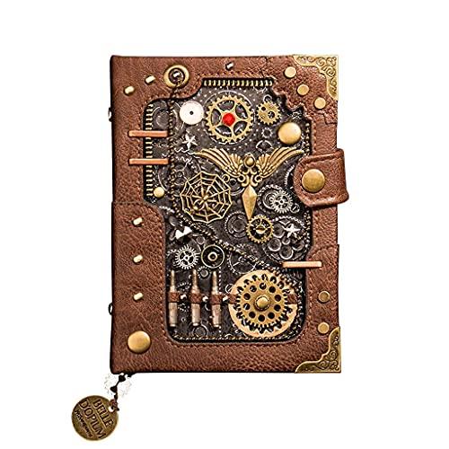 NZKW Cuadernos Cuaderno de Mano de Metal de Cuero Creativo Libro de Mano Juego de Manual Retro Bloc de Notas Calendario de Agenda Diario de Regalo de Mano pequeño (Color: A)