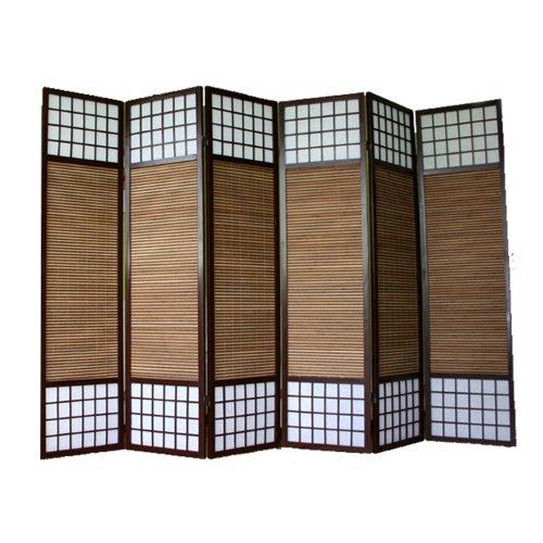 PEGANE Biombo japonés de Madera y bambú de 6 Paneles