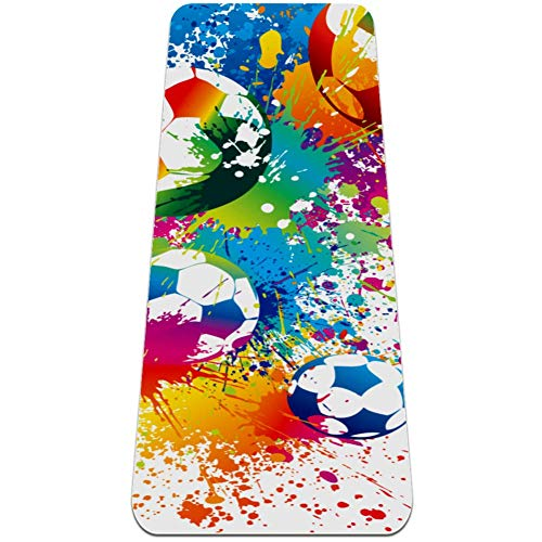 All Purpose High Density Yoga Mat Eco Friendly Non Slip Fitness Exercise Mat for Yoga, Pilates and Floor Exercises Abstract Rainbow Game Football Sport