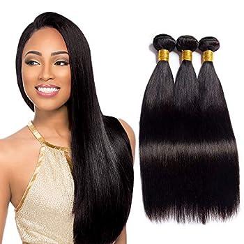 Brazilian Straight Human Hair Bundles 8 8 8 Inch Weave 100% Unprocessed Virgin Weave Hair Human Bundles for American Black Women Remy Weft 3 Bundles Straight Human Hair Extensions Natural Black Color