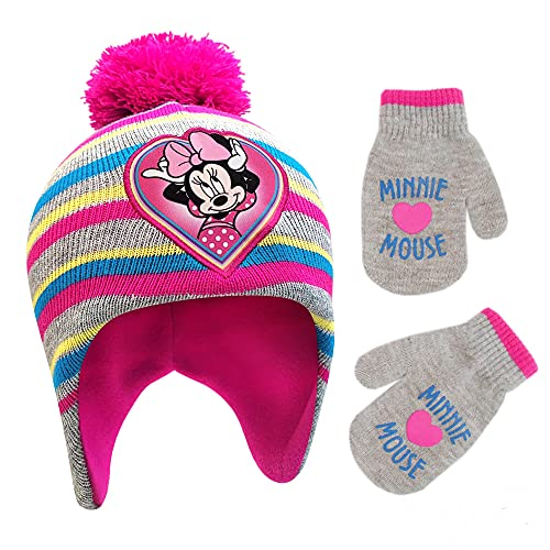 Disney Winter Hat, Kids Toddlers, Minnie Mouse Baby Beanie for Boy GirlAges 4-7, Pink/Grey Design Mittens - Age 2-4, Mittens and Gloves Age 2-7
