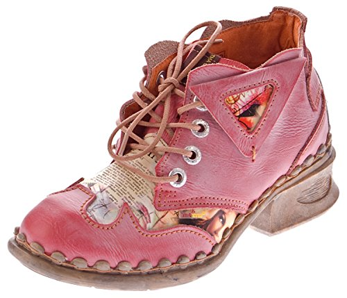 TMA Damen Leder Comfort Knöchel Schuhe 5155 Halb Schuhe Rot Blockabsatz Boots Gr. 37