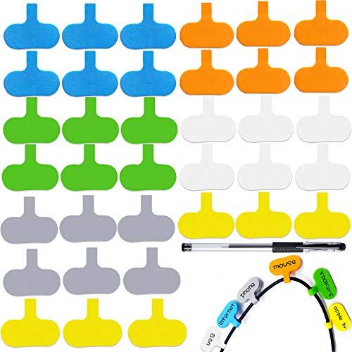 창사 36 개 케이블 레이블을 설정 EVA 거품 방수 코드 라벨 화려한 와이어 태그와 1 마커 펜 쓰기에 케이블에 대한 태그 케이블을 관리 및 식별(타원형)
