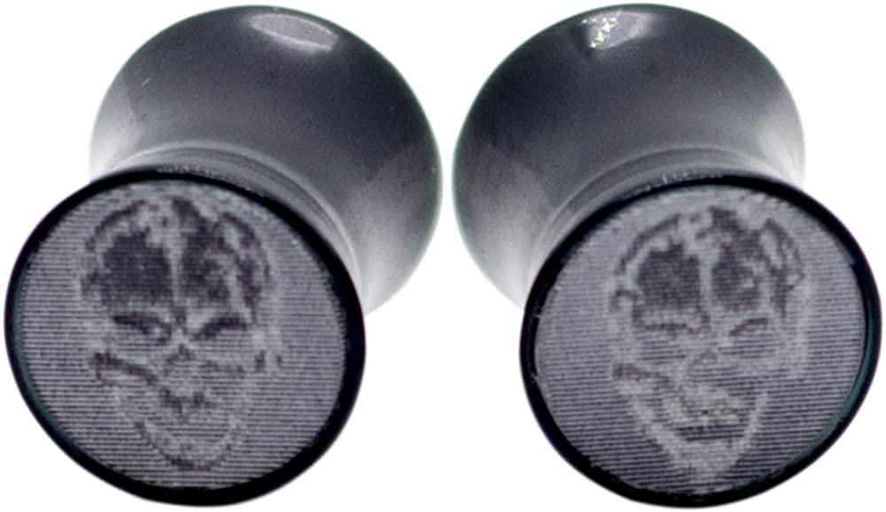 Pierce2GO Black Acrylic Plugs with Holographic Skull Design Set Ear Gauges Flesh Tunnels Plugs Stretchers Expander Ear Piercing Jewelry