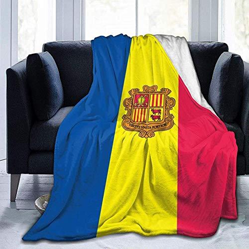Superweiche und Bequeme Dicke Decke für alle Jahreszeiten, Andorra Flag Weiches, gemütliches, Dickes Bett Unisex Adults Micro Fleece für Couch Bettstuhl Büro Flanelldecken 80x60 Zoll