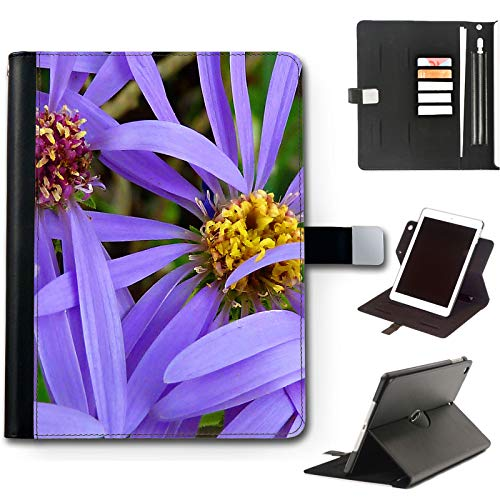 Purple Petals Flowers iPad Case For Apple iPad Air 4 (2020) 10.9 inch, 360 Swivel Leather Side Flip Wallet Folio Cover with Stand Feature, Card Slots, Paper Slot, Pen Holder