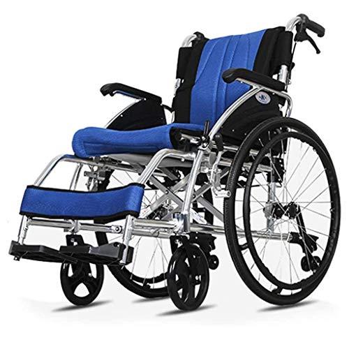 Wheelchair Leicht Faltbar Rollstuhl, Tragbar Selbstfahrender Rollstuhl Titanlegierung Aufhängen Robust Und Stabil Mit Umkippschutz Senior/Behinderte Roller Schieben