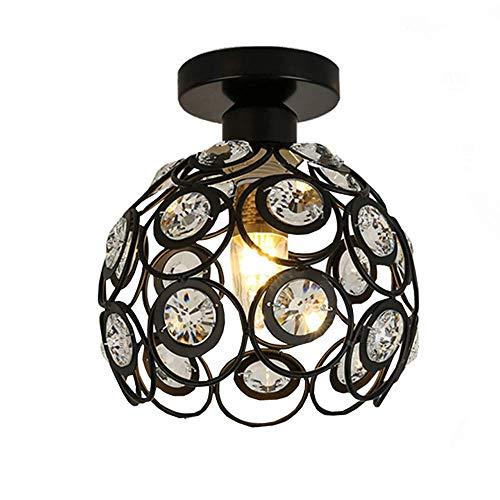 L.BAN Lámpara de Techo Moderna con Bolas de Cristal, luz Colgante y Phi; iluminación de 260 mm para Dormitorio, Comedor, Cocina, baño (Negro)