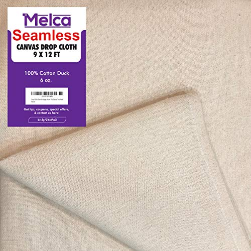 Drop Cloth Tarp Art Supplies - 9x12 Finished Size, 100% Cotton, Seams Only On The Edges, New Unmarked Fabric, Cotton Duck Fabric - Be Confident You Have The Canvas You Need.