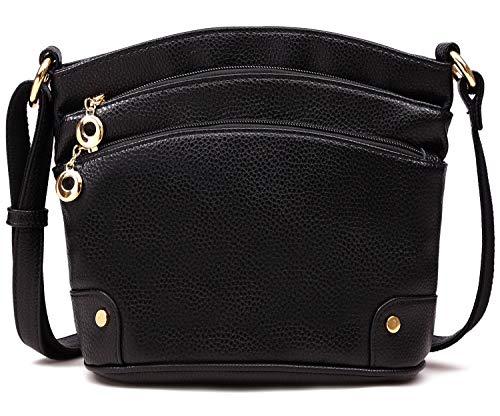 PlasMaller Bolso bandolera de piel para mujer, bolso cruzado largo por encima del hombro, bolsos y bolsos para mujer, Negro (Negro), Medium