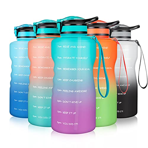 Gusgopo Large Half Gallon 64oz Motivational Water Bottle with Time Marker & Straw, Leakproof Tritan BPA Free Water Jug, Ensure You Drink Enough Water Daily for Fitness,Gym and Outdoor Sports