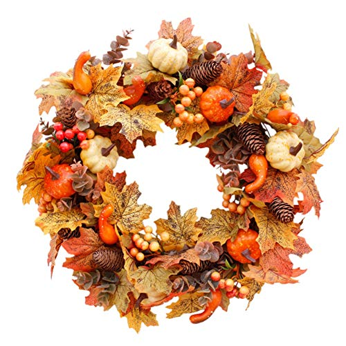 fall wreath with pumpkins and pine cones