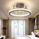 Silencio Ventilador de techo con Encendiendo LED Ligero 48W Lujo Cristal Lámpara de techo con mando a distancia y APP Atenuación Moderno Invisible Ventilador Sala Cuarto Lámpara Los 50CM,Marrón