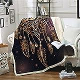 Xzfddn Dreamcatcher Manta en la cama, manta de sherpa, lujosa manta de terciopelo para sofá