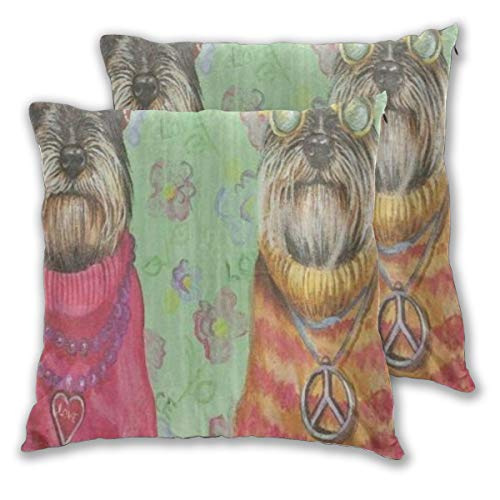 ALLMILL Juego de 2 Decorativo Funda de Cojín Schnauzer Dog Love Art Painitng Funda de Almohada Cuadrado para Sofá Cama Decoración para Hogar,50x50cm