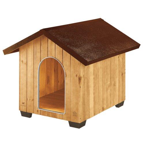 Ferplast Caseta de exterior para perros DOMUS EXTRA LARGE, Madera ecosostenible, Rejilla de ventilación, Puerta con perfil de aluminio resistente a las mordeduras, 93,5 x 113,5 x h 90,5 cm