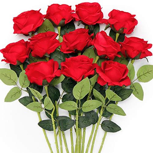 Mocoosy 12 Flores Artificiales de Rosas Rojas, Rosas de Seda con Tallo Largo, Flores Rojas Artificiales Ramo de Rosas Falsas para Bodas Despedidas de Soltera hogar jardín centros de Mesa decoración