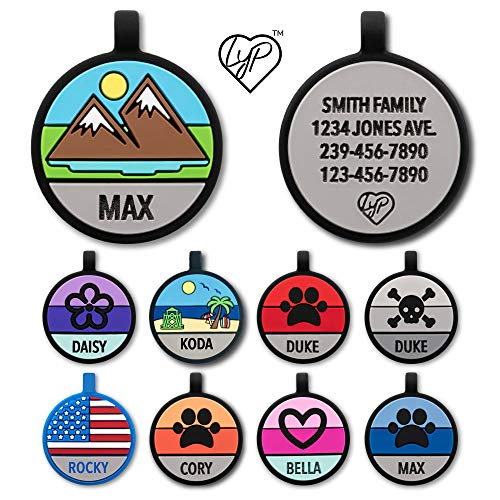 Love Your Pets Soundless Pet Tag - Designer Deep Engraved Silicone – Double Sided and Engraving Will Last - Many Design Choices of Pet ID Tags, Dog Tags, Cat Tags (Multi-Color, Mountain)