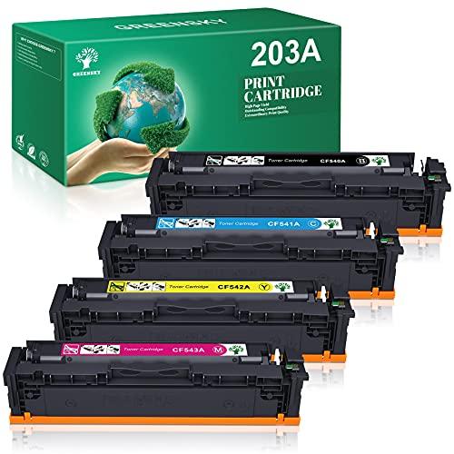 GREENSKY 203A 203X Kompatible Tonerkartusche Ersatz für HP 203A CF540A CF541A CF542A CF543A 203X CF540X für HP Laserjet Pro MFP M281fdw M280nw M281fdn M281dw M281cdw für HP Laserjet Pro M254nw M254dn
