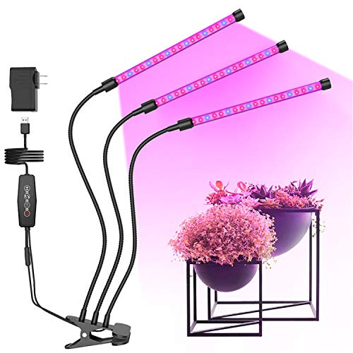 GROSSYLAND 3 Head LED Grow Lights with Clip Stand for Indoor Plants, Red Blue Spectrum Plant Grow Bulbs Strips with Auto ON/Off, 3/6/12H Timer, 6 Dimmable Levels for Hydroponics Succulent Plants