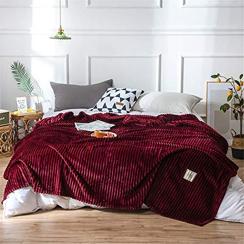 Fansu Flanell Plüsch Decke, Extra Weiche Winter Warme Luxuriös Kuscheldecke Microfaser Flauschige Falten-beständig Wohndecke Sofadecke oder Bettüberwurf (Burgunderrot,150x200cm)