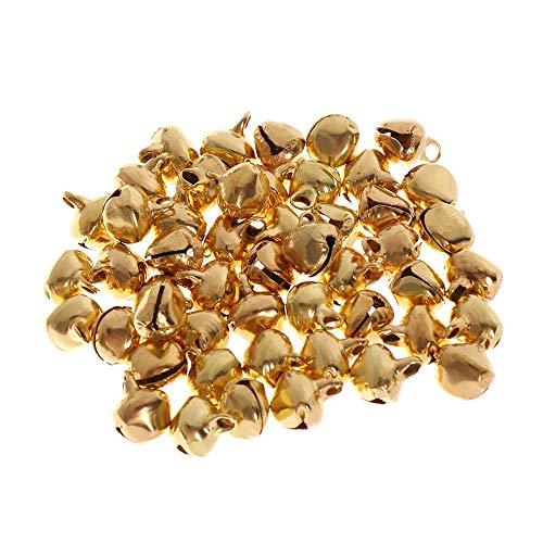Nopera 50 Stück Mini-Glöckchen in Gold für Festival, bunte Weihnachtsbaum-Dekorationen, Glöckchen, Silber DIY Basteln Festival Zubehör Glocken (10 mm, Gold)