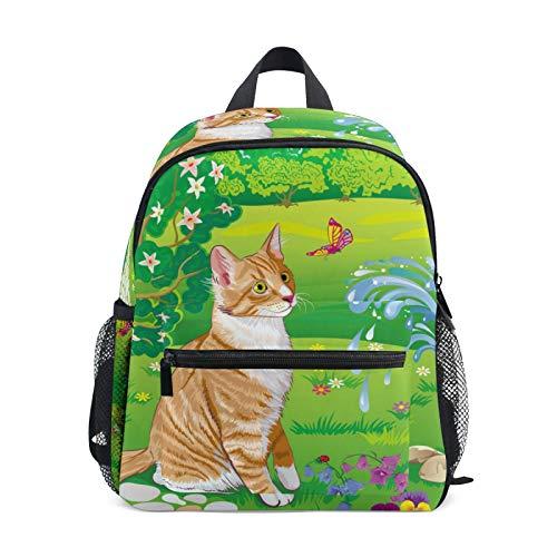 JinDoDo Kids Backpack Cat Butterfly Garden Children's School Bag for Kindergarte Preschool Boys Girls with Chest Clip