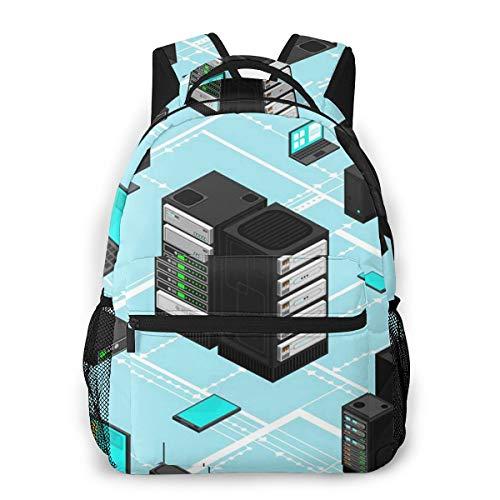Laptop Rucksack Daypack Schulrucksack Backpack Datendaten Netzwerkverwaltung Isometrisch, Business Taschen Freizeit Rucksack Arbeits Schultasche für Herren Männer Schüler Schule