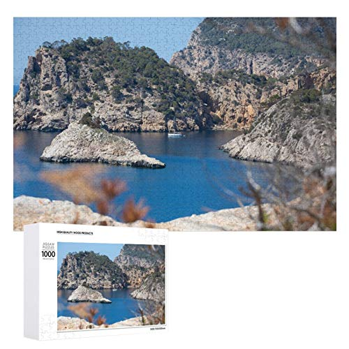 Promini Rompecabezas de madera Rocky Coastline Paisaje de la isla de Ibiza España blanco color5 1000 PCS Desafiante Puzzle Juego Divertido Juguetes Familiares Juegos Educativos