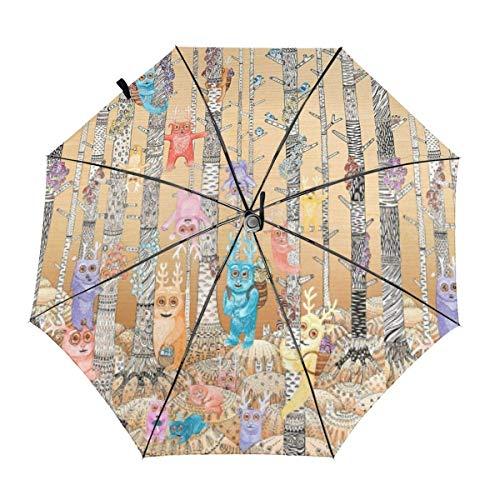 Windproof Travel Auto 3 Falten Regenschirm Bugaboo Forest Cute Deer Birds Falten Leichter tragbarer Sonnenschirm Regenschirm für Frauen Männer
