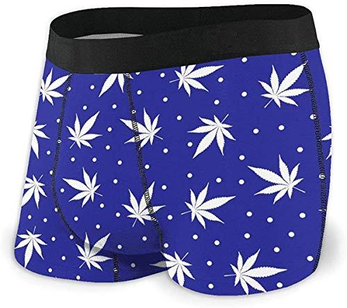 xianjing6 Herren Unterwäsche Boxershorts White Snowflake Hemp Leaf Men's Short Leg Cool Boxer Brief Comfort Flex Waistband Underwear