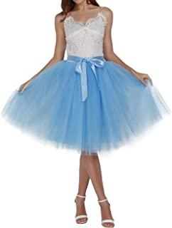 Minyue Women's Tulle Skirt A Line Midi/Knee Length Tutu 6 Layered Pleated Dance Skirt