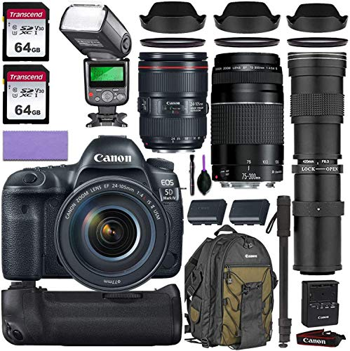 Canon eos 5d mark iv dslr camera w/canon 24-105mm f/4l ii is usm, canon 75-300mm iii & commander optics 420-800mm telephoto lens + accessory kit (2x 64gb memory card, canon backpack & more)