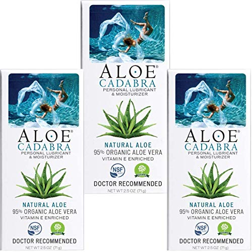 Aloe Cadabra Organic Personal Lubricant and Natural Vaginal Moisturizer with 95% Aloe Vera, Natural Aloe, 2.5 Ounce (Pack of 3)