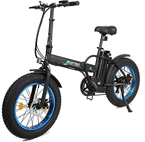 "20"" 500W 36V 12Ah Fat Tire Folding Electric Bike Removable Lithium Battery Beach Snow Bicycle Moped Electric Mountain Bike Powerful Motor Aluminum Frame Black and Blue"