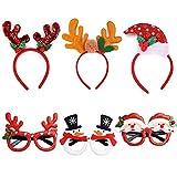 REYOK 6PCS Serre-tête de Noël et Les Verres fixés Lunettes de Noël pour...