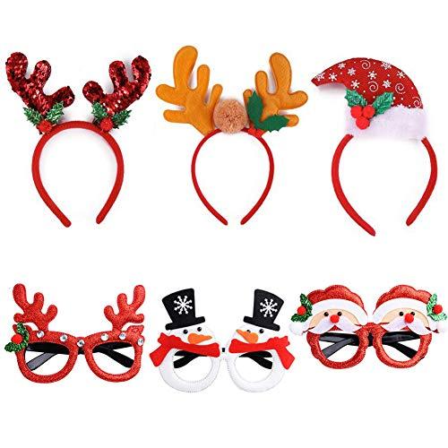 Weihnachtsbrillen + Weihnachts Haarreif, 6 Stück Partybrillen Set Kreative Weihnachten Brillen Haarschmuck Party Gläser Brillenrahmen Brillengestell Sortierte Kinder Lustige Gläser für Party Dekor