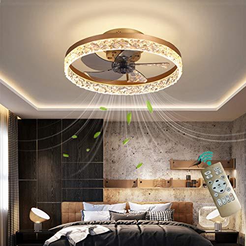 YAOXI Led Dormitorio Ventilador de Techo con Luz y Mando Silencioso 6 Velocidades Reversible 30W Ventilador de Techo con Luz y Temporizador Modernos Regulable,Oro