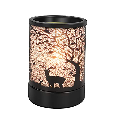 Enaroma Fragrance Candle Wax Warmer with Timer Black Forest & Elk Design Scented Oil Warmer for Decor