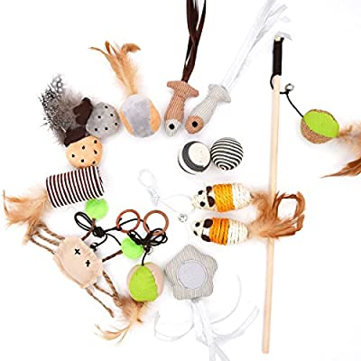 MorePets] 14 Premium Natural Interactive Cat Toys Variety Pack Teaser Wand Toy Set Mouse Fish Feather