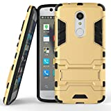 ZTE Axon 7 Mini Case, SATURCASE Hybrid 2 in 1 [PC & Silicone] Dual-Layer Bumper Protective Case Cover with Kickstand for ZTE Axon 7 Mini (Gold)
