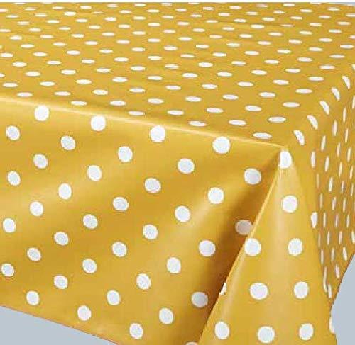 ELIKO - Mantel impermeable de tela encerada redonda 160 cm PVC- – Peso mostaza.