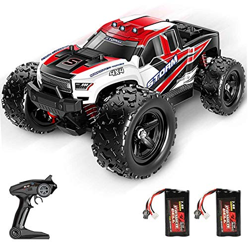 BFULL Remote Control Truck for Boys 45KM/H 1:18 Scales 4WD All Terrain Off-Road Fast Rc Car with 2 Rechargeable1200mAh Batteries for 60 Mins, 2.4Ghz Remote Control Car Gifts for Adults Girls