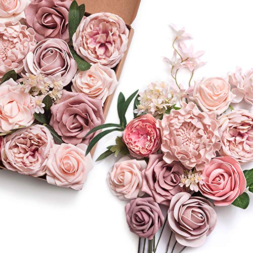 Kunstseide vintage Rose blumen bouquet 50cm Creme Rosen 9 Stiele