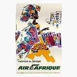 Amelius Vintage Travel Senegal Poster Africa Air,