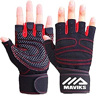Weight Lifting Fitness Workout Gym Gloves with Wrist Wrap Straps for Men Women Exercise Gloves for Crossfit Training, Pull Ups, Weightlifting, Calisthenics, Powerlifting