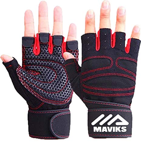 MAVIKS Weight Lifting Fitness Workout Gym Gloves with Wrist Wrap Straps for Men Women Exercise Gloves for Crossfit Training, Pull Ups, Weightlifting, Calisthenics, Powerlifting (Medium)