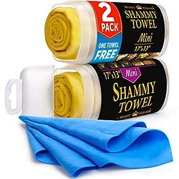 "Premium Mini Chamois Cloth for Car - 2pack +1 Bonus Car Shammy Towel -17""x13"" - Super Absorbent Reusable Shammy Cloth for Car - Scratch-Free"