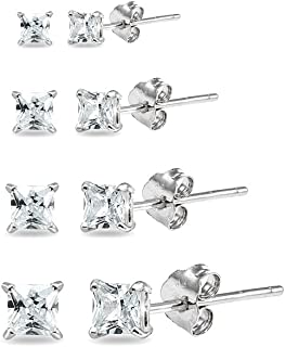 4 Pair Set Sterling Silver Cubic Zirconia Princess-Cut Square Stud Earrings, 2mm 3mm 4mm 5mm