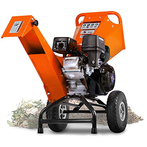 SuperHandy Wood Chipper Shredder Mulcher 7HP 212cc Engine Heavy Duty Compact Rotor Assembly Design 3' Inch Max Capacity Aids in Fire Prevention and Building Firebreaks